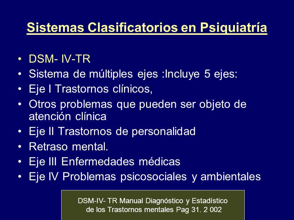 Sistemas Clasificatorios en Psiquiatría