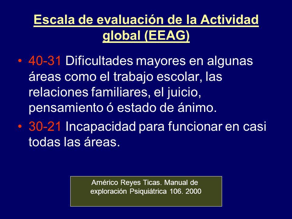 Escala de evaluación de la Actividad global (EEAG)
