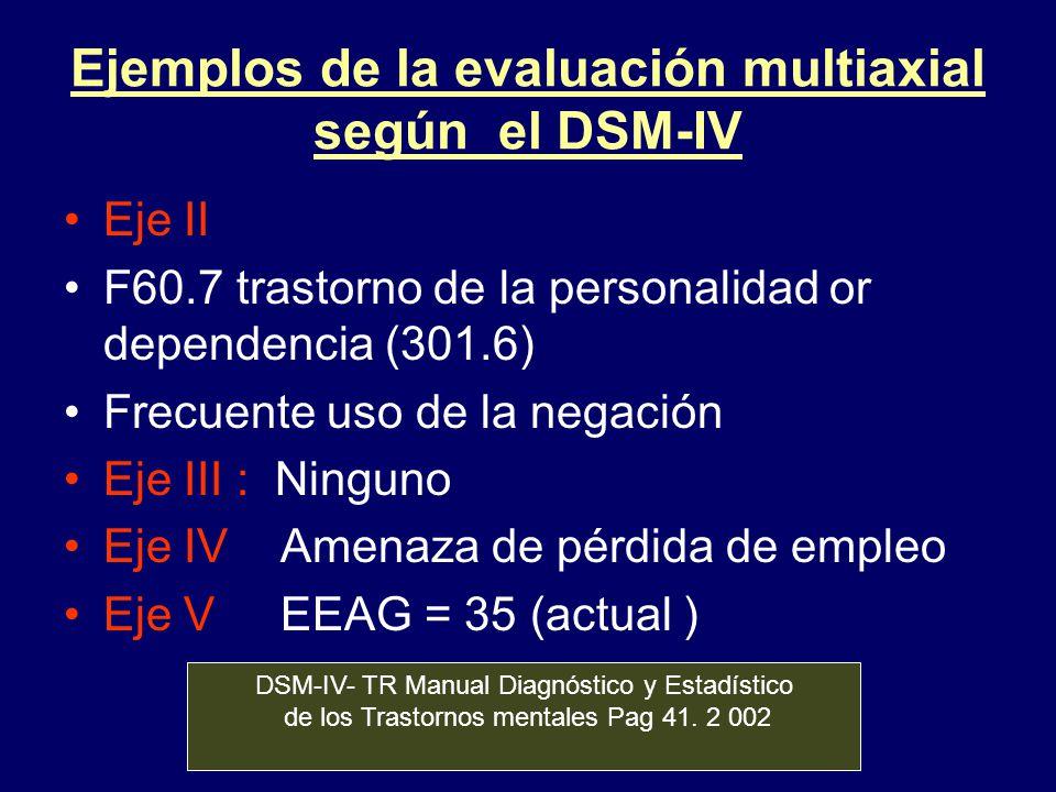 Ejemplos de la evaluación multiaxial según el DSM-IV