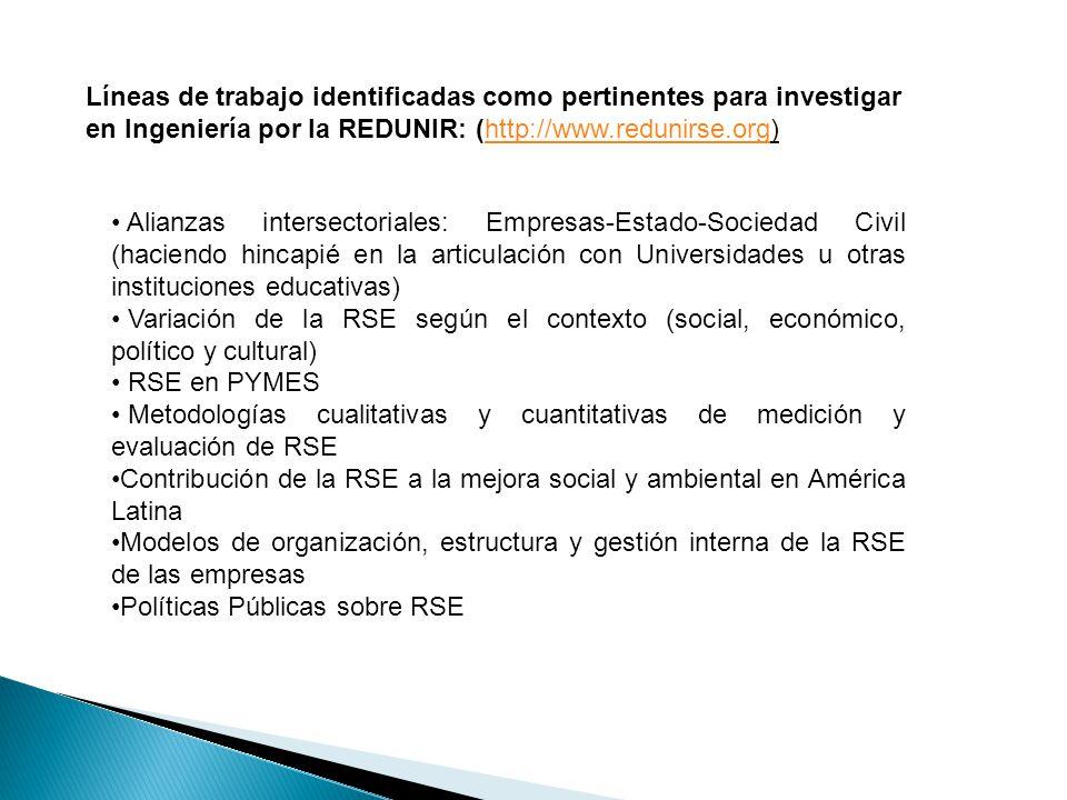 Líneas de trabajo identificadas como pertinentes para investigar en Ingeniería por la REDUNIR: (http://www.redunirse.org)