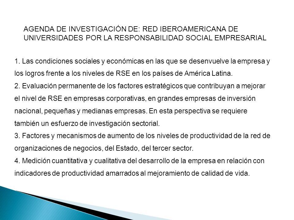 AGENDA DE INVESTIGACIÓN DE: RED IBEROAMERICANA DE UNIVERSIDADES POR LA RESPONSABILIDAD SOCIAL EMPRESARIAL