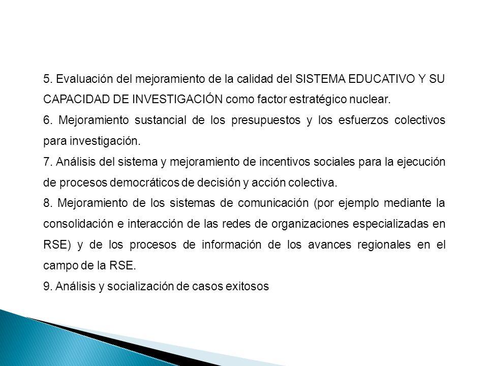 5. Evaluación del mejoramiento de la calidad del SISTEMA EDUCATIVO Y SU CAPACIDAD DE INVESTIGACIÓN como factor estratégico nuclear.