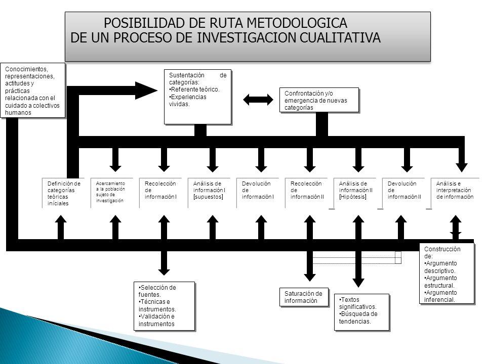 POSIBILIDAD DE RUTA METODOLOGICA