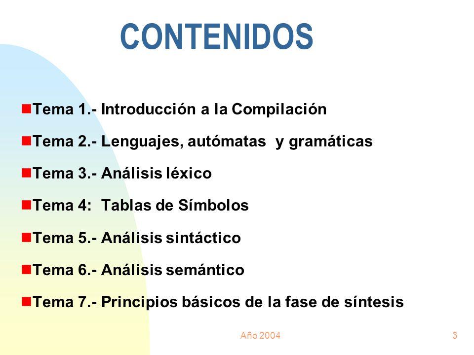 CONTENIDOS Tema 1.- Introducción a la Compilación