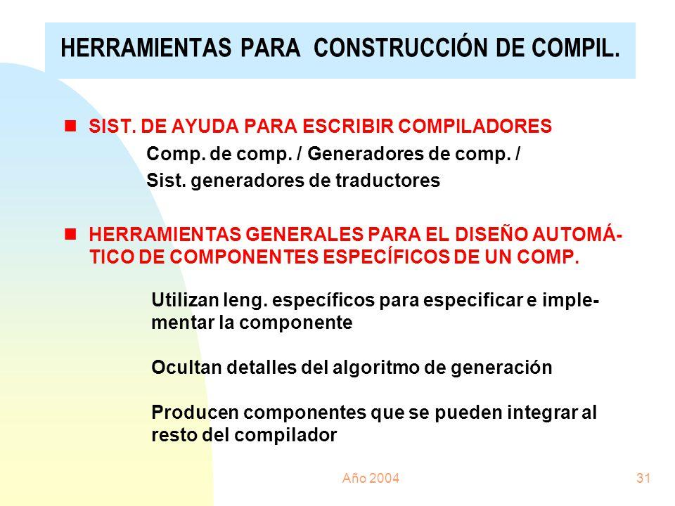 HERRAMIENTAS PARA CONSTRUCCIÓN DE COMPIL.