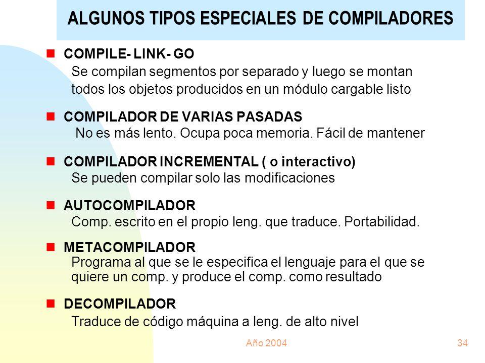 ALGUNOS TIPOS ESPECIALES DE COMPILADORES
