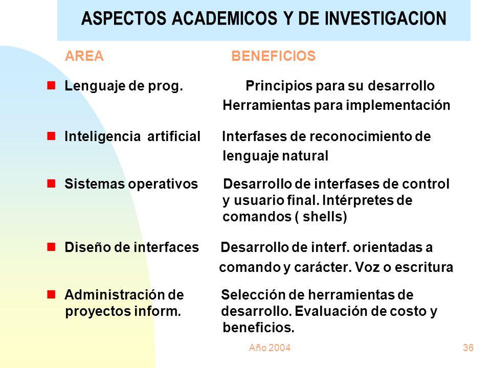 ASPECTOS ACADEMICOS Y DE INVESTIGACION