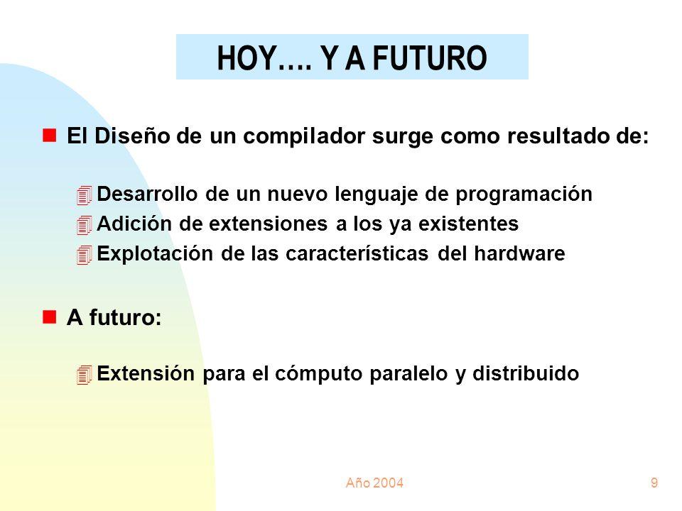 HOY…. Y A FUTURO El Diseño de un compilador surge como resultado de:
