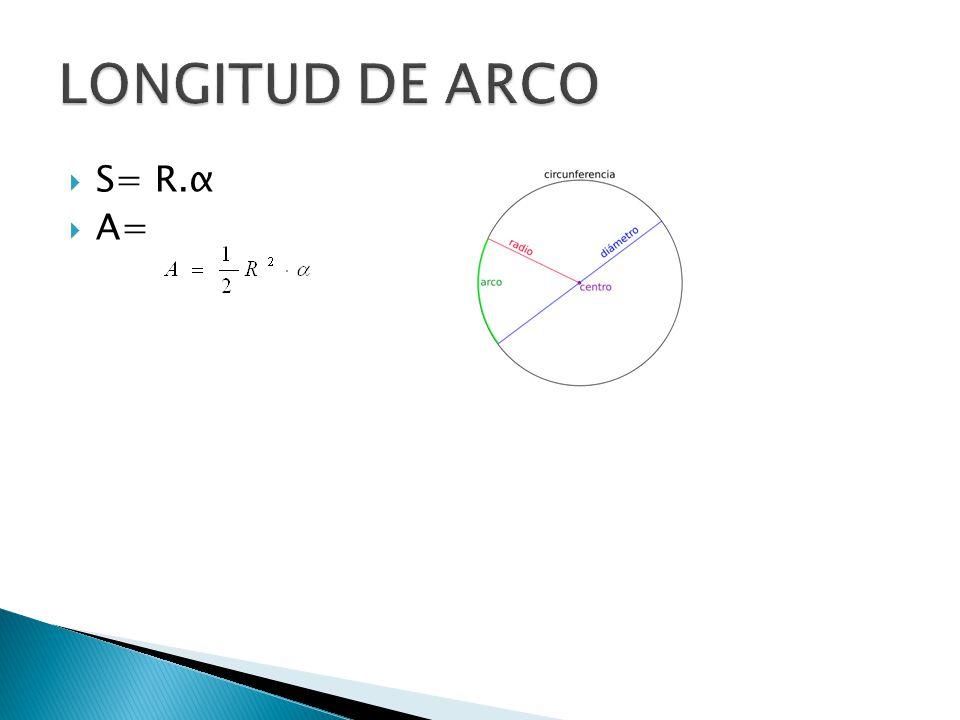 LONGITUD DE ARCO S= R.α A=