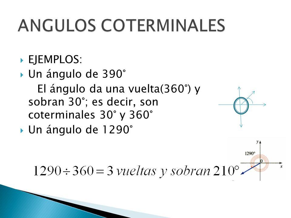 ANGULOS COTERMINALES EJEMPLOS: Un ángulo de 390°