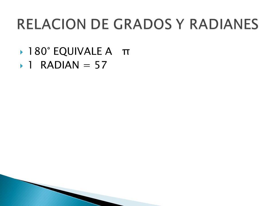 RELACION DE GRADOS Y RADIANES