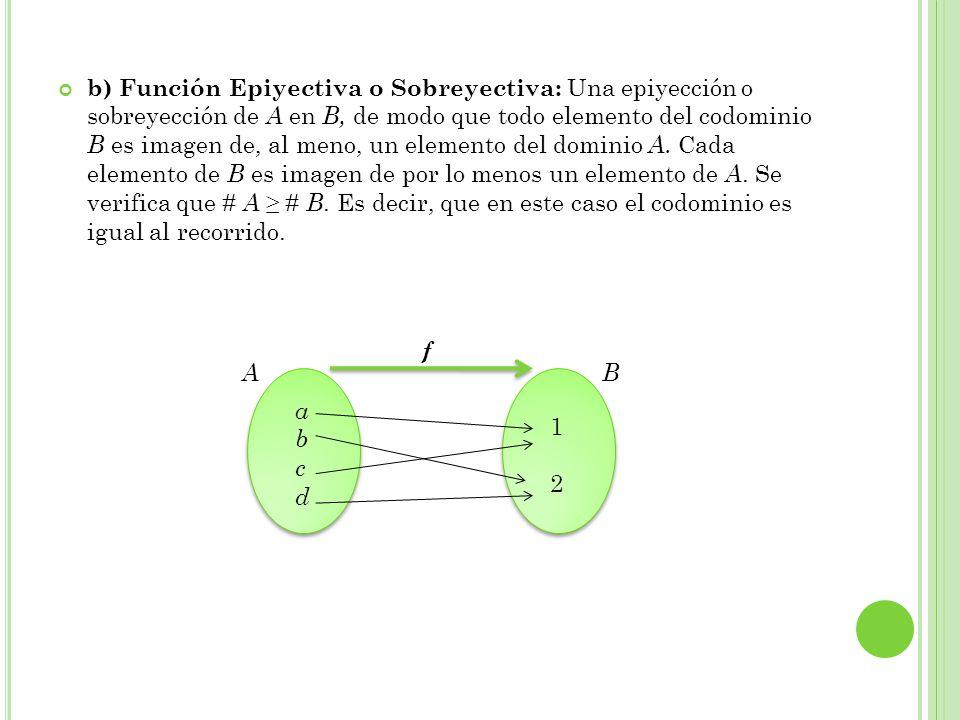 b) Función Epiyectiva o Sobreyectiva: Una epiyección o sobreyección de A en B, de modo que todo elemento del codominio B es imagen de, al meno, un elemento del dominio A. Cada elemento de B es imagen de por lo menos un elemento de A. Se verifica que # A ≥ # B. Es decir, que en este caso el codominio es igual al recorrido.
