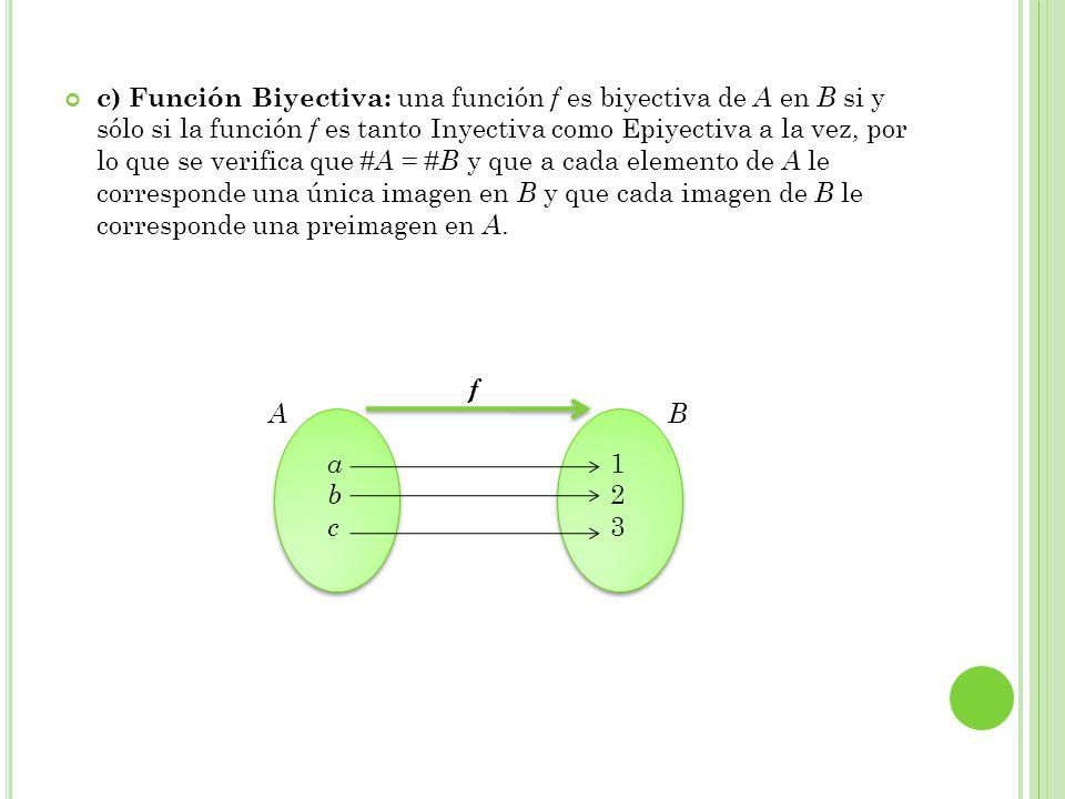 c) Función Biyectiva: una función f es biyectiva de A en B si y sólo si la función f es tanto Inyectiva como Epiyectiva a la vez, por lo que se verifica que #A = #B y que a cada elemento de A le corresponde una única imagen en B y que cada imagen de B le corresponde una preimagen en A.