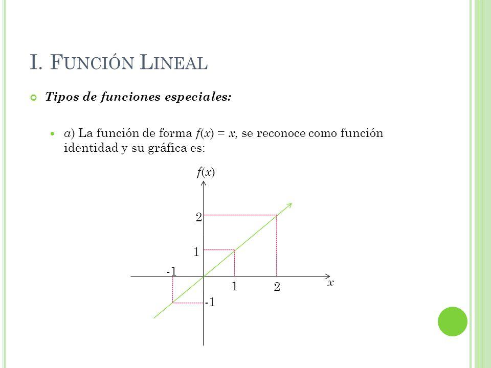 I. Función Lineal Tipos de funciones especiales: