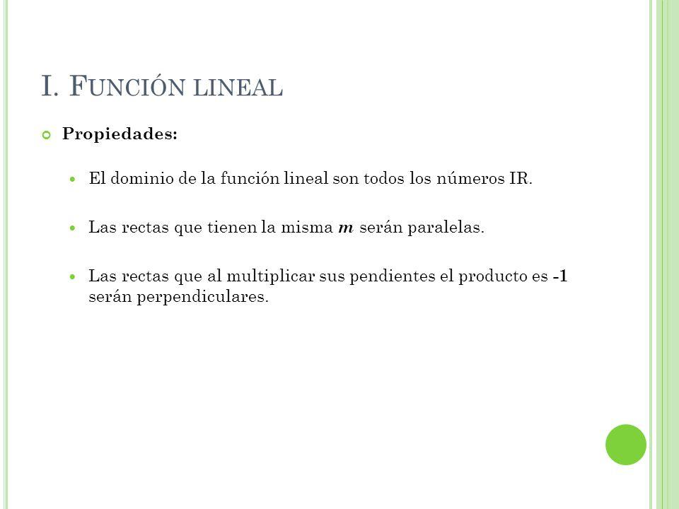 I. Función lineal Propiedades: