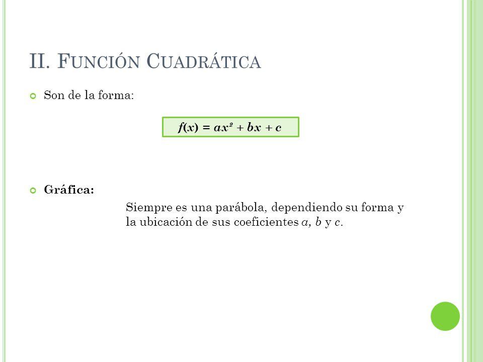II. Función Cuadrática Son de la forma: f(x) = ax² + bx + c Gráfica: