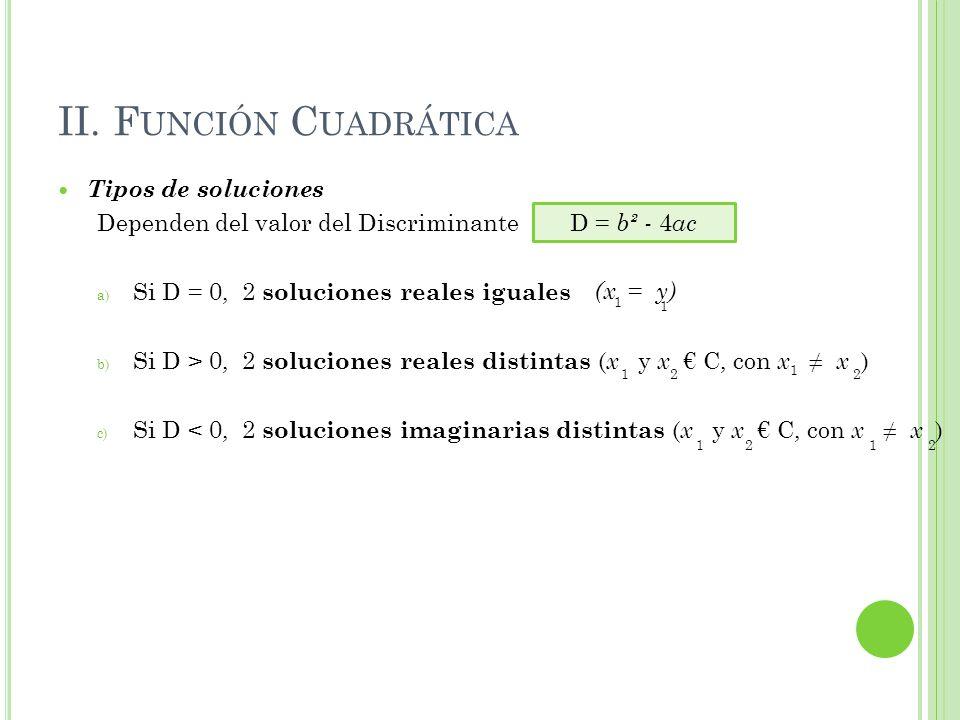 II. Función Cuadrática Tipos de soluciones