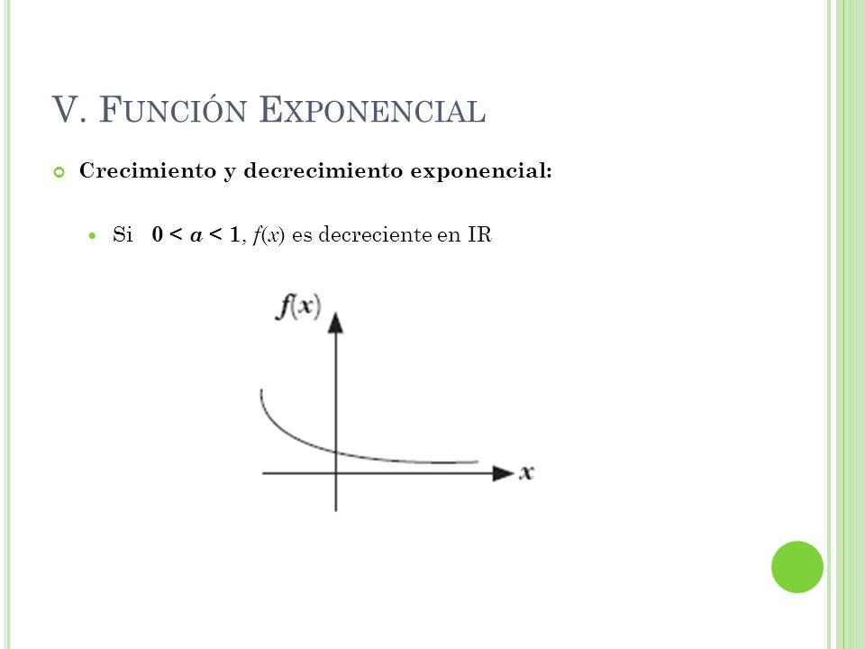 V. Función Exponencial Crecimiento y decrecimiento exponencial: