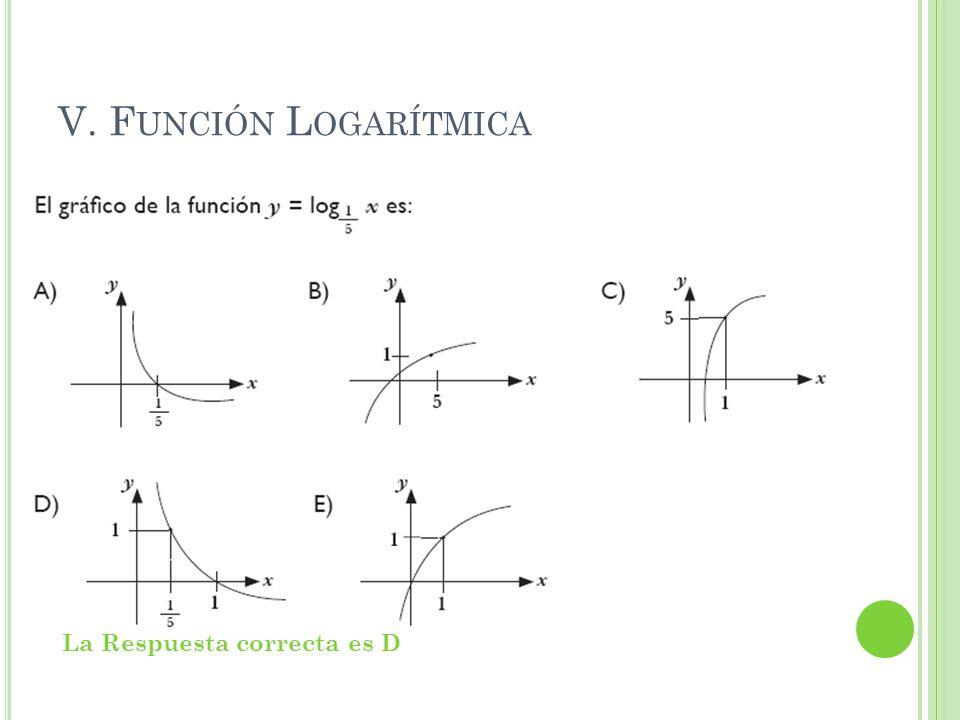 V. Función Logarítmica La Respuesta correcta es D