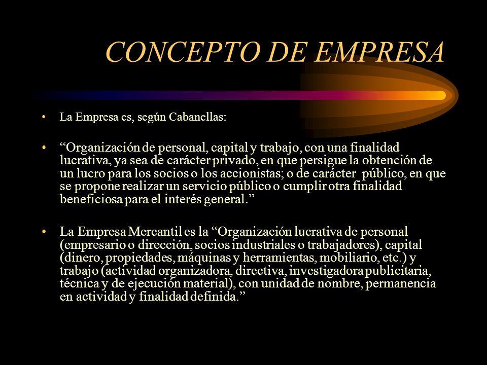 CONCEPTO DE EMPRESA La Empresa es, según Cabanellas: