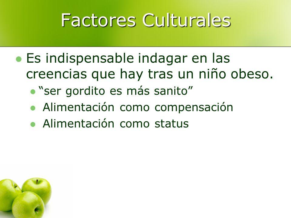 Factores Culturales Es indispensable indagar en las creencias que hay tras un niño obeso. ser gordito es más sanito