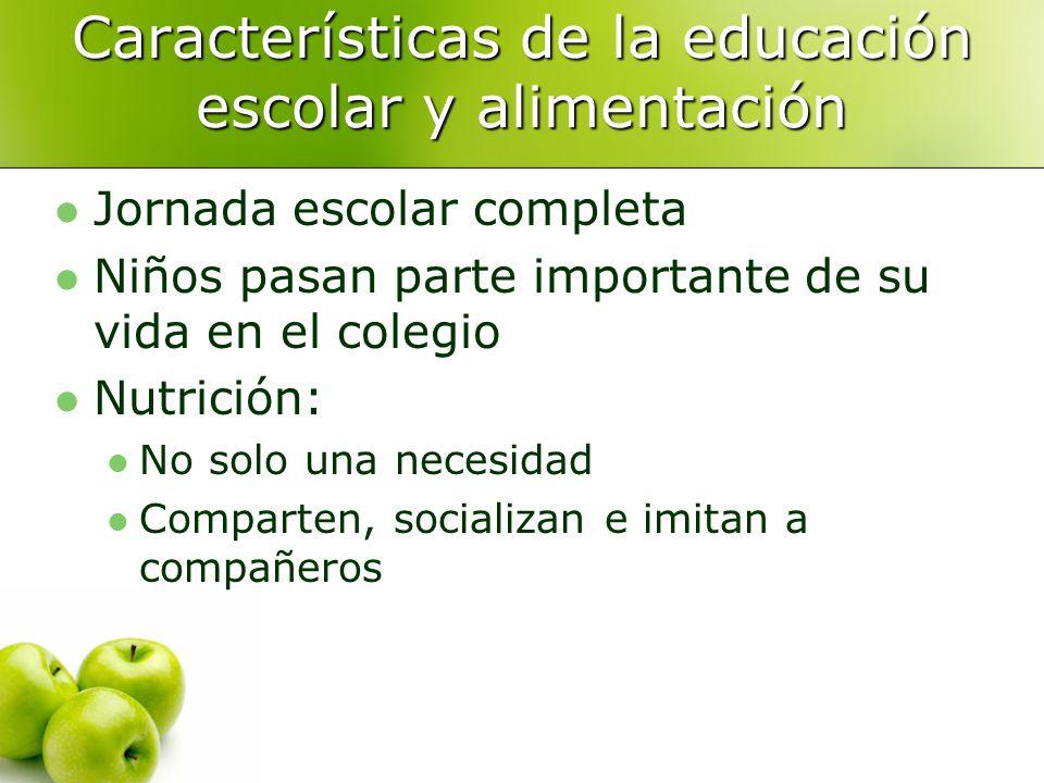 Características de la educación escolar y alimentación