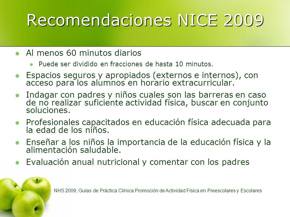 Recomendaciones NICE 2009 Al menos 60 minutos diarios