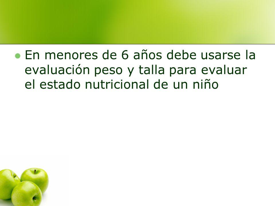 En menores de 6 años debe usarse la evaluación peso y talla para evaluar el estado nutricional de un niño