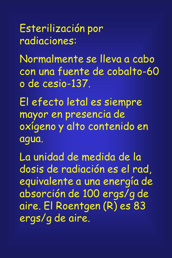Esterilización por radiaciones: