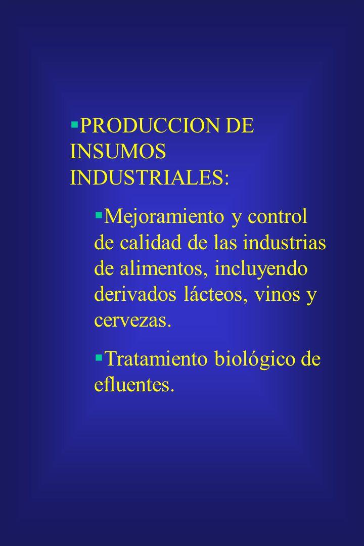PRODUCCION DE INSUMOS INDUSTRIALES: