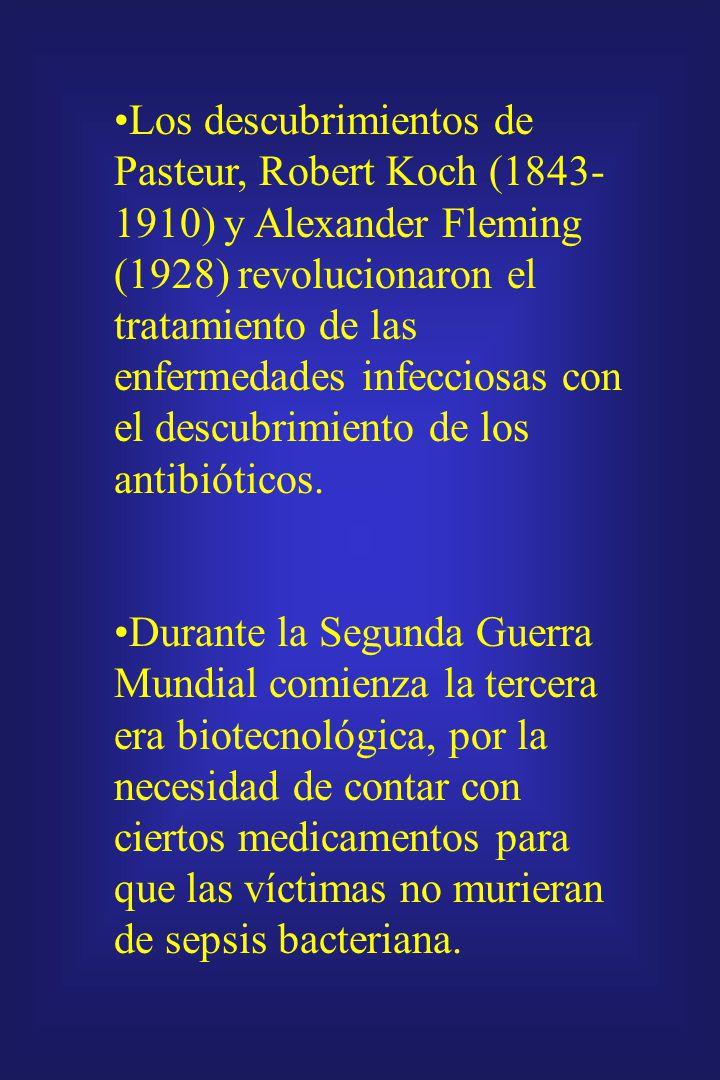 Los descubrimientos de Pasteur, Robert Koch (1843-1910) y Alexander Fleming (1928) revolucionaron el tratamiento de las enfermedades infecciosas con el descubrimiento de los antibióticos.