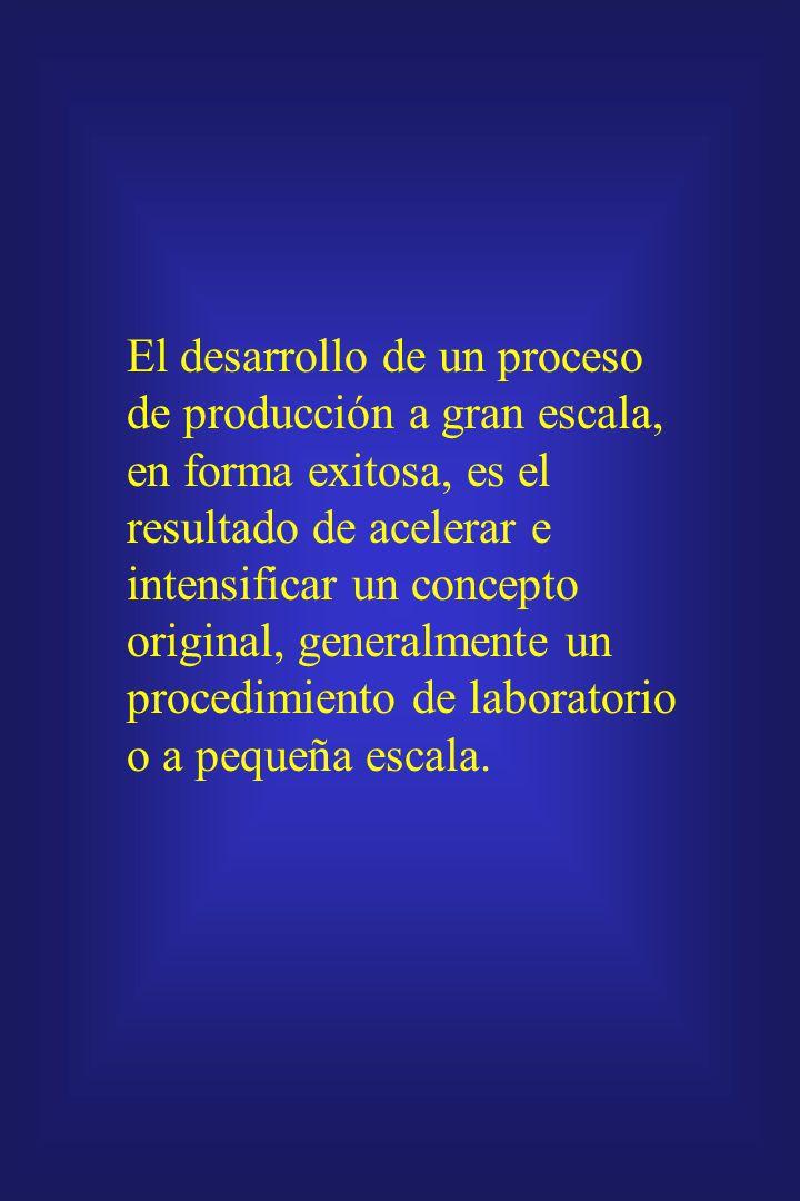 El desarrollo de un proceso de producción a gran escala, en forma exitosa, es el resultado de acelerar e intensificar un concepto original, generalmente un procedimiento de laboratorio o a pequeña escala.
