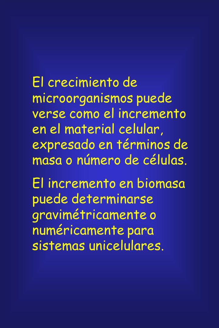 El crecimiento de microorganismos puede verse como el incremento en el material celular, expresado en términos de masa o número de células.