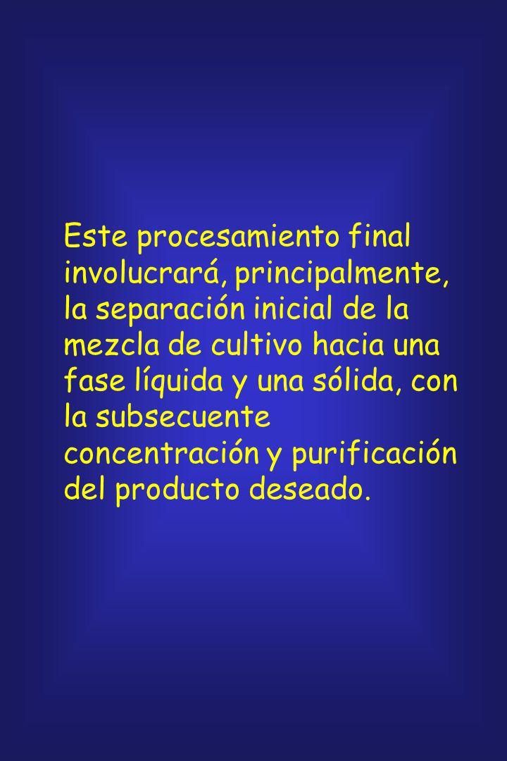 Este procesamiento final involucrará, principalmente, la separación inicial de la mezcla de cultivo hacia una fase líquida y una sólida, con la subsecuente concentración y purificación del producto deseado.
