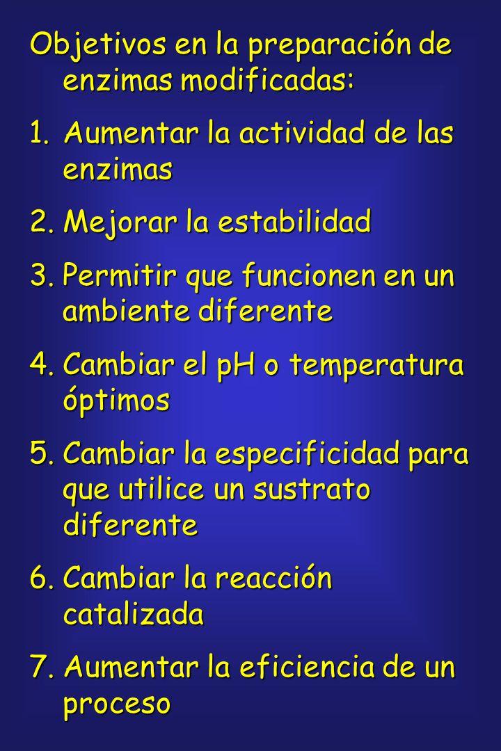 Objetivos en la preparación de enzimas modificadas: