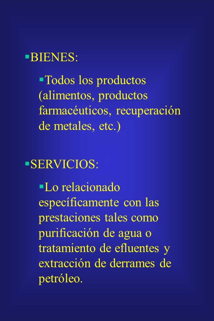 BIENES: Todos los productos (alimentos, productos farmacéuticos, recuperación de metales, etc.) SERVICIOS: