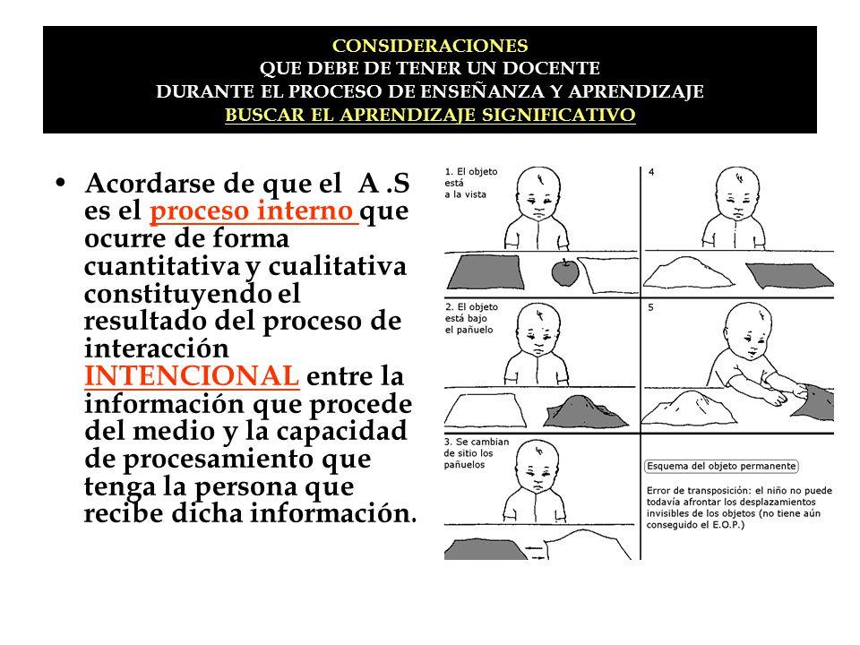 CONSIDERACIONES QUE DEBE DE TENER UN DOCENTE DURANTE EL PROCESO DE ENSEÑANZA Y APRENDIZAJE BUSCAR EL APRENDIZAJE SIGNIFICATIVO