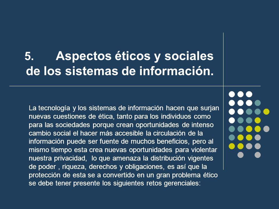 5. Aspectos éticos y sociales de los sistemas de información.