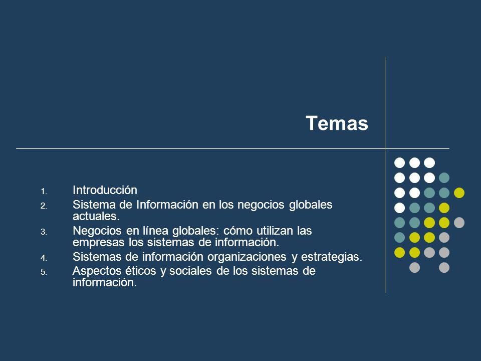 Temas Introducción. Sistema de Información en los negocios globales actuales.