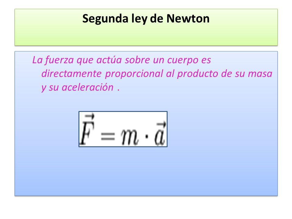 Segunda ley de Newton La fuerza que actúa sobre un cuerpo es directamente proporcional al producto de su masa y su aceleración .