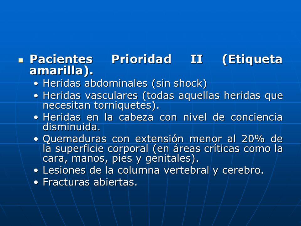 Pacientes Prioridad II (Etiqueta amarilla).