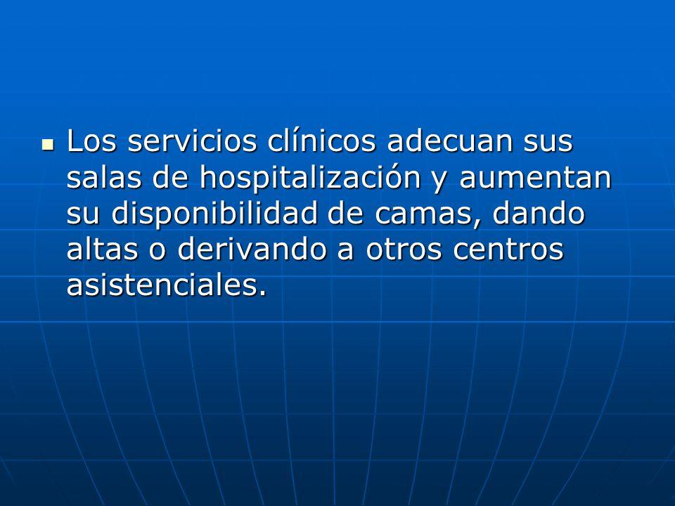 Los servicios clínicos adecuan sus salas de hospitalización y aumentan su disponibilidad de camas, dando altas o derivando a otros centros asistenciales.