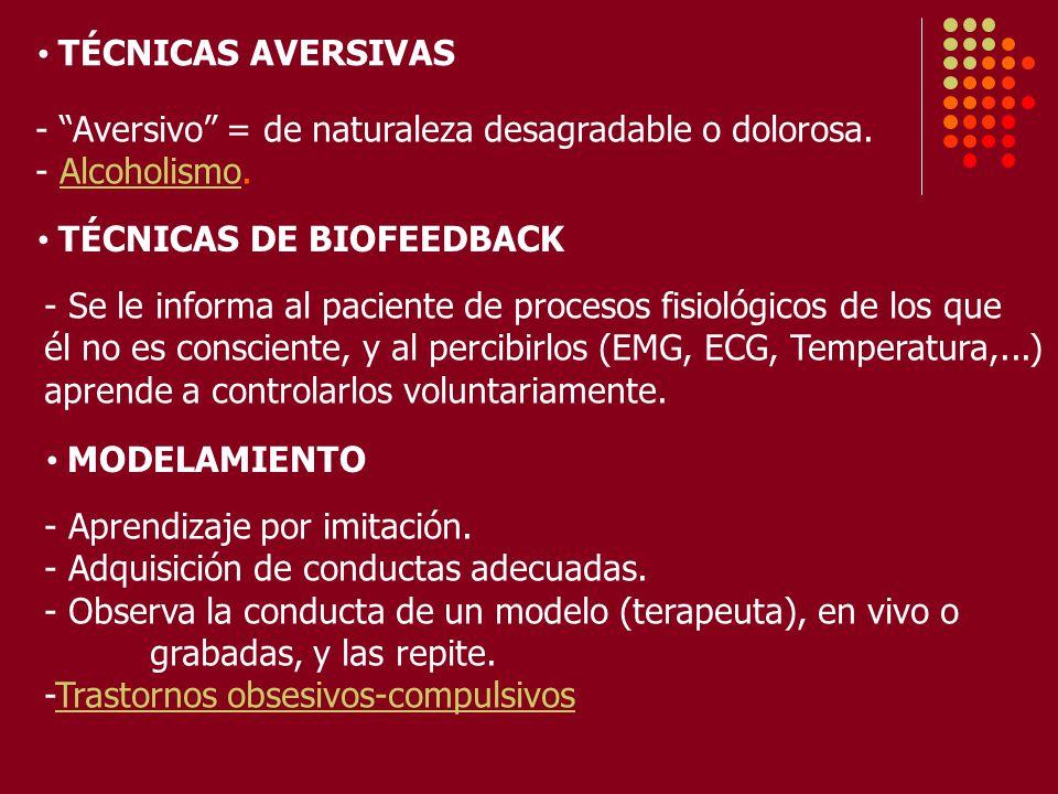 TÉCNICAS AVERSIVAS - Aversivo = de naturaleza desagradable o dolorosa. - Alcoholismo. TÉCNICAS DE BIOFEEDBACK.
