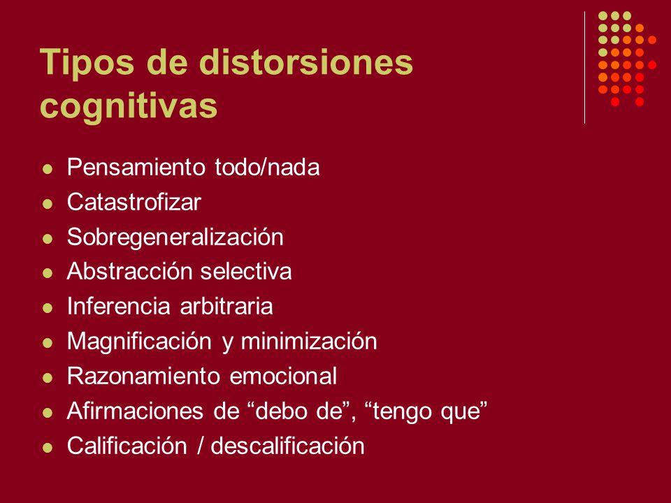 Tipos de distorsiones cognitivas