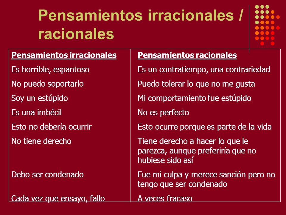 Pensamientos irracionales / racionales