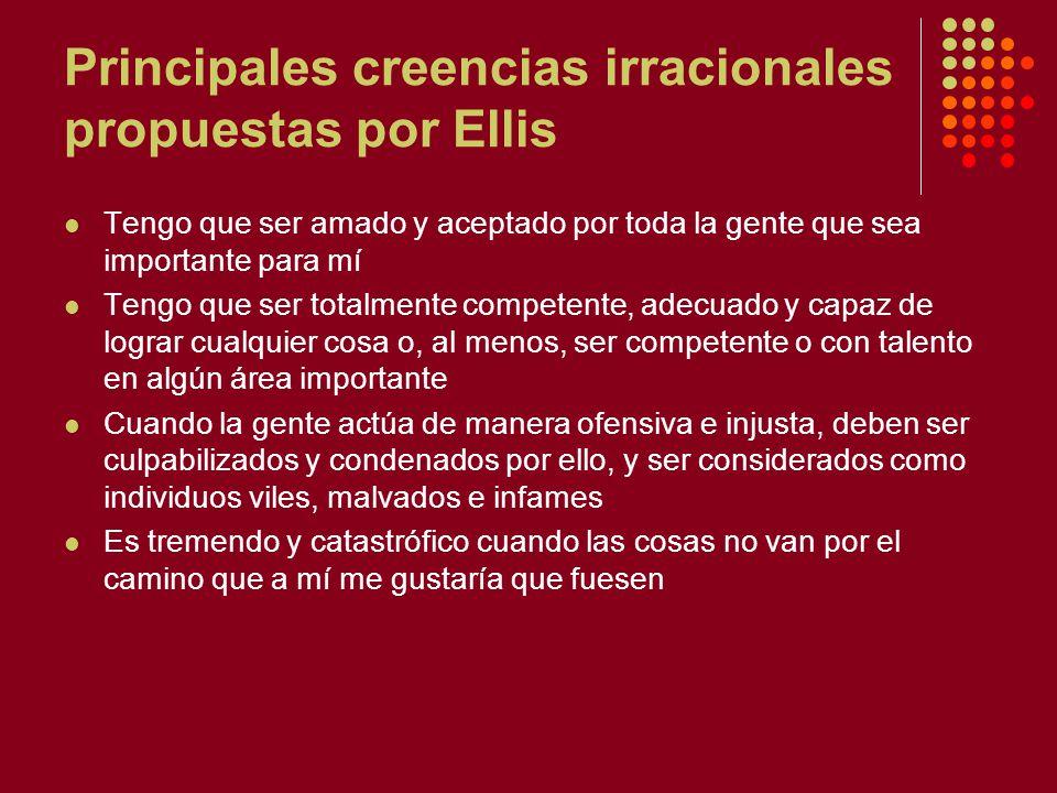 Principales creencias irracionales propuestas por Ellis