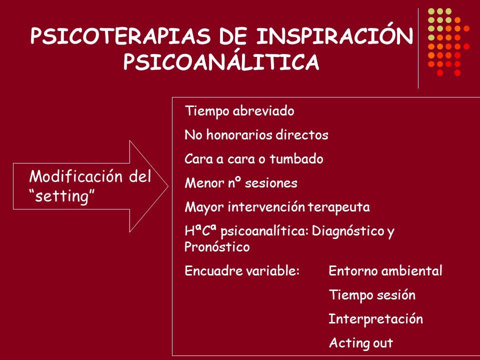 PSICOTERAPIAS DE INSPIRACIÓN PSICOANÁLITICA