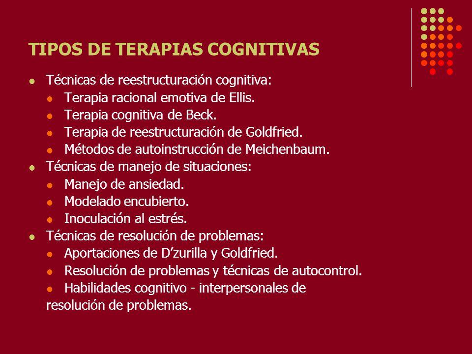 TIPOS DE TERAPIAS COGNITIVAS