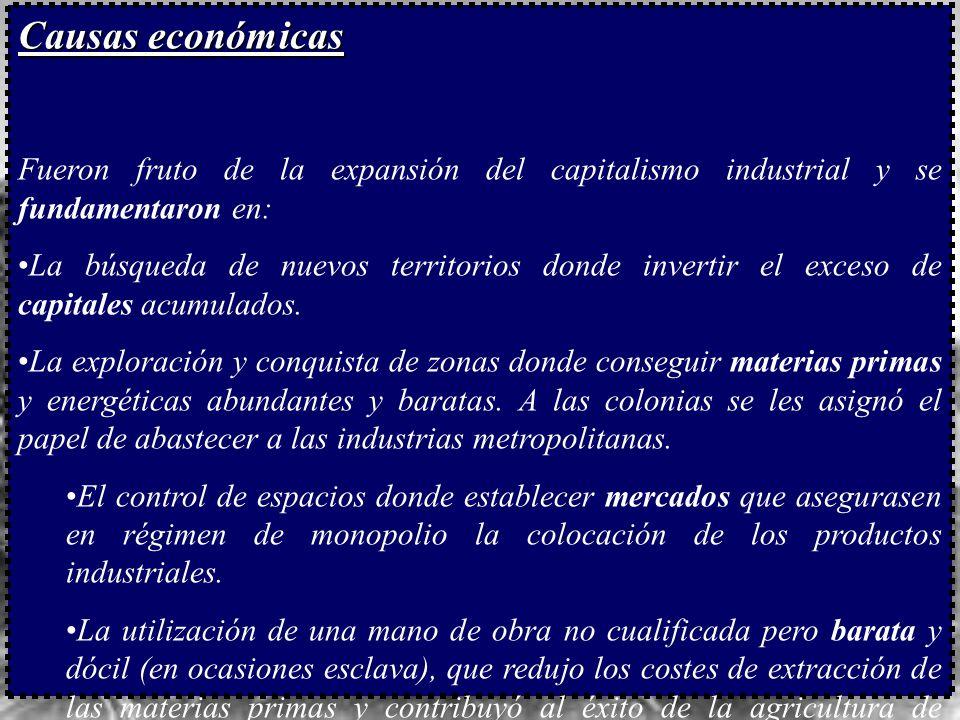 Causas económicas Fueron fruto de la expansión del capitalismo industrial y se fundamentaron en: