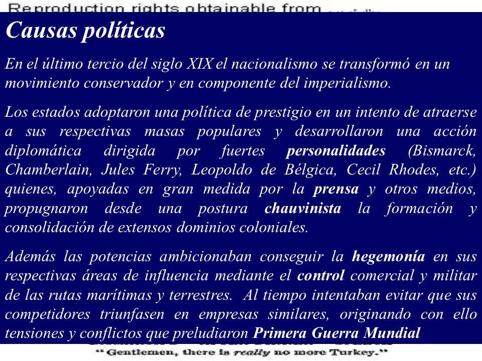 Causas políticas En el último tercio del siglo XIX el nacionalismo se transformó en un movimiento conservador y en componente del imperialismo.